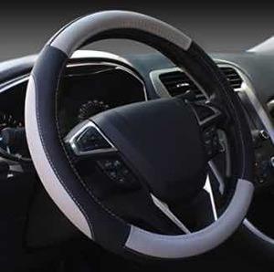 SEG Direct Black and Gray Microfiber Auto Car Steering Wheel Cover